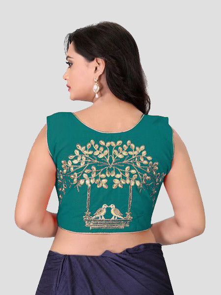 Back Side Embroidery of Turquoise Blouse - YOYO Fashion