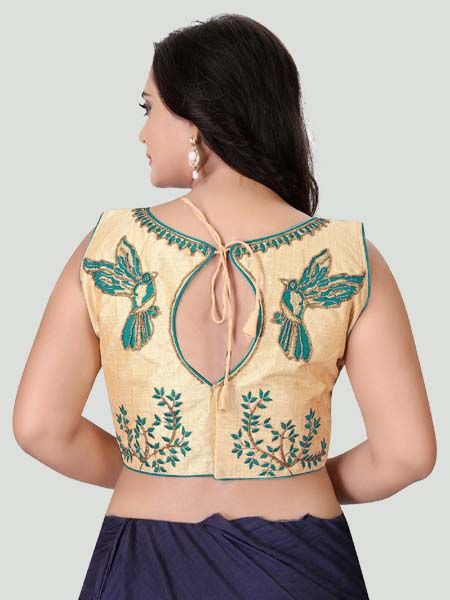 Back Side of Turquoise Boat Neck Stitched Blouse Design - YOYO Fashion