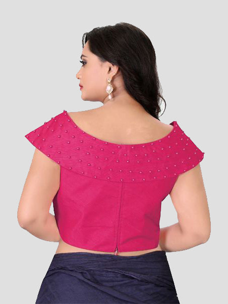 Back Side of Pink Boat Neck Solid Blouse Online - YOYO Fashion