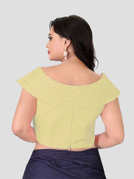 Back Side of Beige Boat Neck Solid Blouse Online - YOYO Fashion