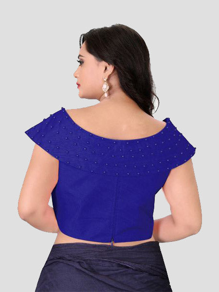 Back Side of Blue Boat Neck Solid Blouse Online - YOYO Fashion