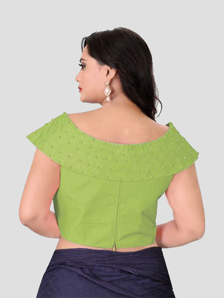 Back Side of Green Boat Neck Solid Blouse Online - YOYO Fashion