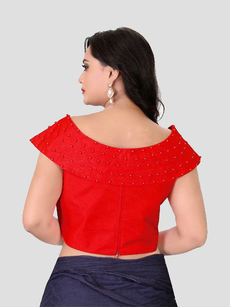 Back Side of Red Boat Neck Solid Blouse Online - YOYO Fashio