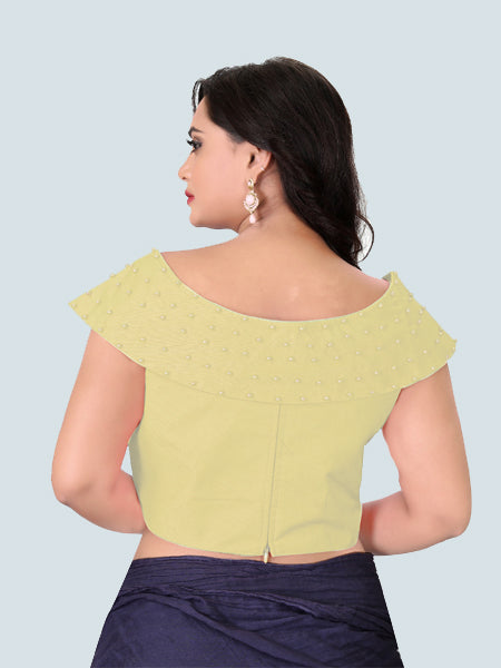 Buy Beige Embellished Boat Neck Saree Blouse Online - YOYO Fashion