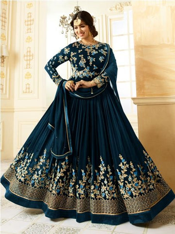 Buy Beige Embroidered Blue Anarkali Suit Online - YOYO Fashion