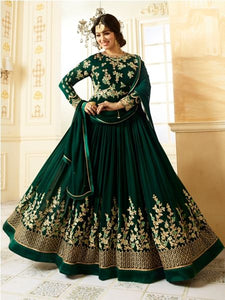 Buy Beige Embroidered Green Anarkali Suit Online - YOYO Fashion