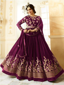 Beige Embroidered Purple Anarkali Suit Online - YOYO Fashion