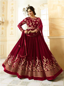 Buy Beige Embroidered Red Anarkali Suit Online - YOYO Fashion