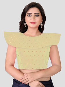 Buy Beige High Neck Solid Silk Blouse online from YOYO Fashion
