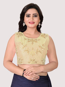 Beige Round Neck Women's Stitched Blouse Online on YOYO Fashion