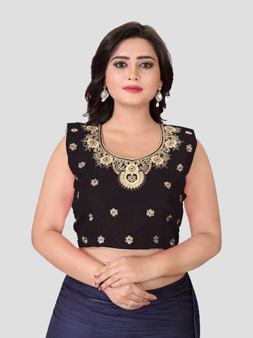 Buy Black Embroidered Silk Blouse Online from YOYO Fashion