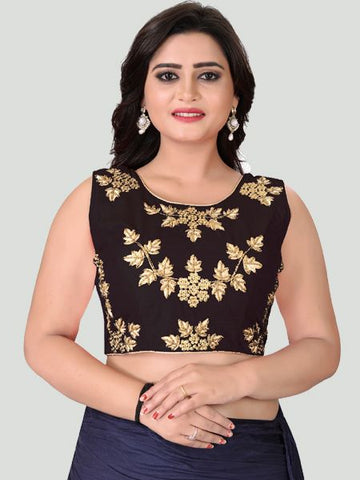 Black Round Neck Women's Stitched Blouse Online - YOYO Fashion