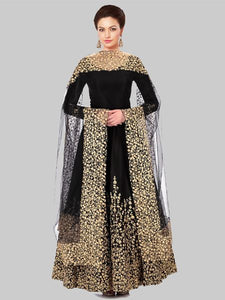 Black Silk Embroidered Anarkali Suit