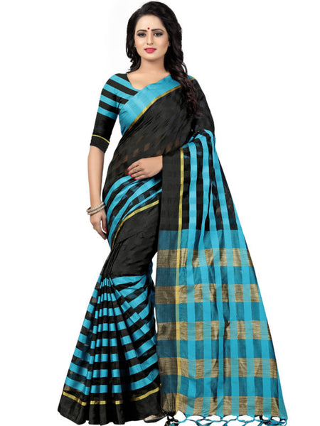 Shop Black and Sky Blue Striped Silk Saree Online from YOYO Fashion