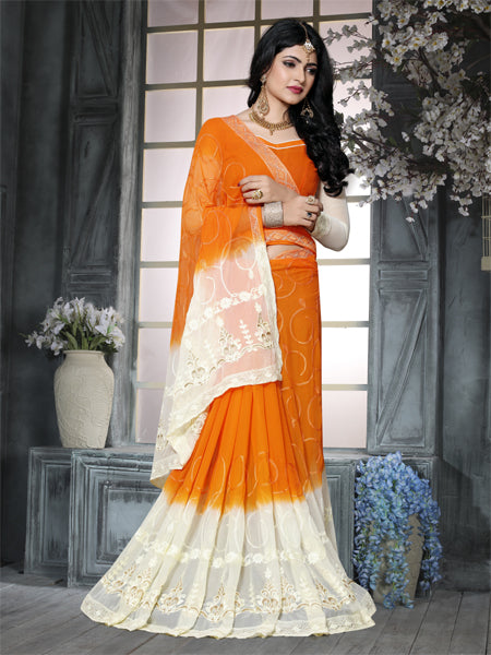 Blouse of Orange and Beige Embroidered Ciffon Saree - YOYO Fashion