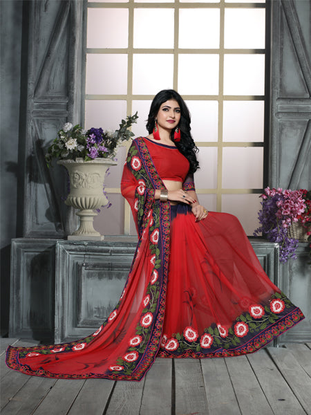 Blouse of Red and Blue Ciffon Embroidered Saree - YOYO Fashion
