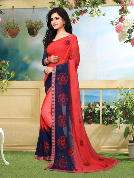 Blouse of Red and Blue Georgette Saree - YOYO Fashion