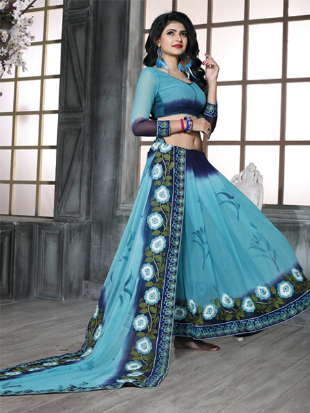 Blouse of Sky Blue Embroidered Chiffon Saree - YOYO Fashion