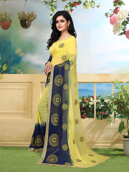 Blouse of Yellow and Blue Georgette Saree - YOYO Fashion