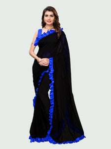 Blue and Black Ruffle Saree Online - YOYO Fashion