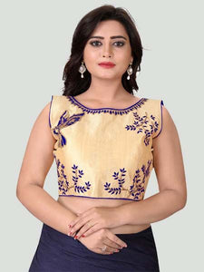Blue Boat Neck Women's Stitched Blouse Online - YOYO Fashion