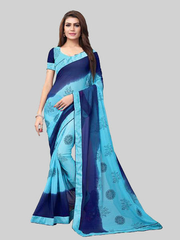 Blue Dyed Printed Georgette Saree