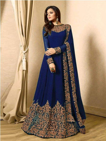Buy Designer Blue Embroidered Anarkali Suit Online - YOYO Fashion
