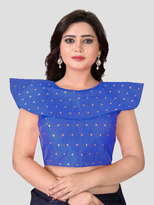 Buy Blue High Neck Silk Solid Blouse Online from YOYO Fashion