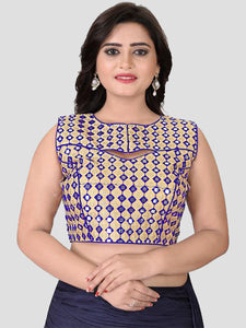 Buy Blue Mirror Work Embroidered Blouse Online from YOYO Fashion