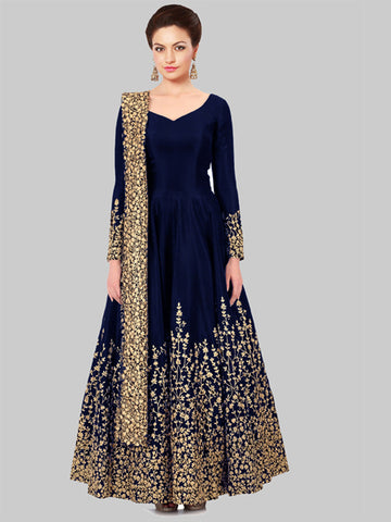 Buy Blue Silk Embroidered Anarkali Suit Online - YOYO Fashion