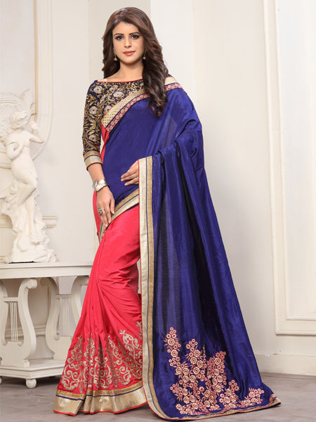 Buy Blue and Pink Embroidered Silk Saree Online from YOYO Fashion