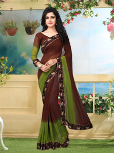 Buy Brown and Green Georgette Saree Online from YOYO Fashion