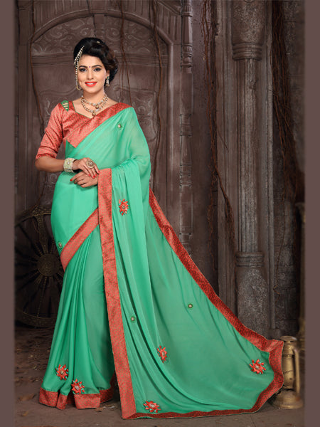 Buy Green and Orange Embroidered Silk Saree Online from YOYO Fashion