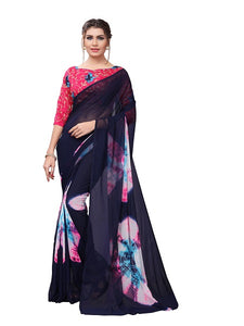 Buy-Navy-Blue-Bandhani-Saree-Printed-Blouse-Online-YOYO-Fashion-SARI2617-Blue