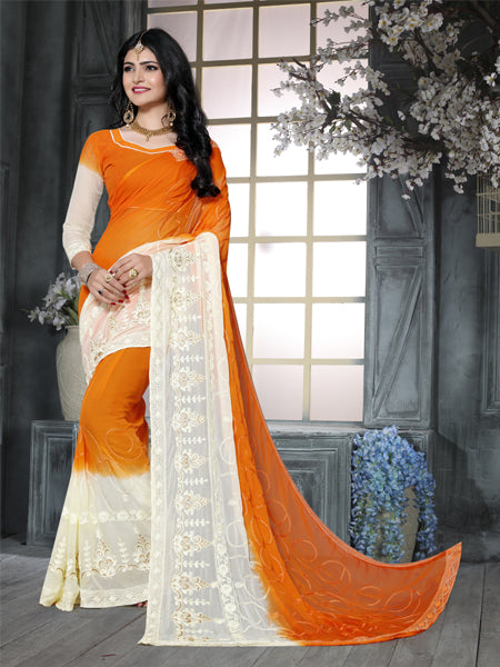 Buy Orange and Beige Embroidered Ciffon Saree Online from YOYO Fashion