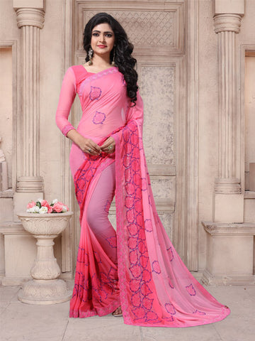 Buy Pink Embroidered Georgette Saree Online from YOYO Fashion