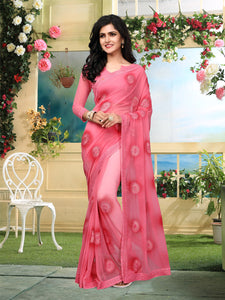 Buy Pink Georgette Embroidered Saree Online from YOYO Fashion