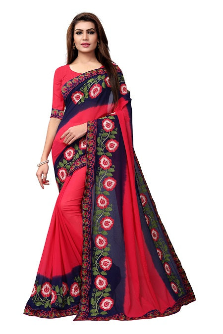 Buy Pink Georgette Saree with Floral Embroidery Online from YOYO Fashion