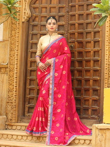 Buy Pink Jacquard Silk Saree with Border Online from YOYO Fashion
