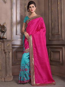 Buy Pink And Blue Embroidered Silk Saree Online In India Yoyo