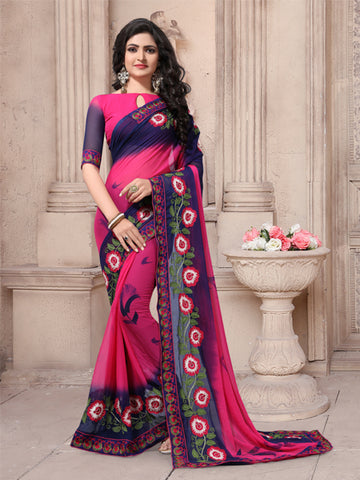 Buy Pink and Blue Georgette Embroidered Saree Online from YOYO Fashion