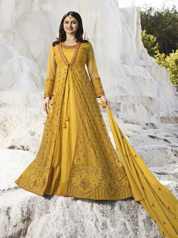 Shop Yellow Embroidered Anarkali Suit Online from YOYO Fashion