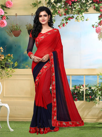 Buy Red Georgette Saree with Lace Border Online from YOYO Fashion