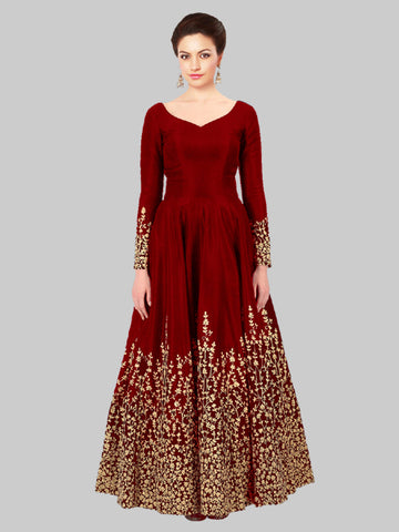 Buy Red Silk Embroidered Anarkali Suit Online - YOYO Fashion