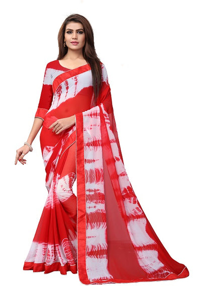 Buy Red Tie and Dye Georgette Saree Online from YOYO Fashion