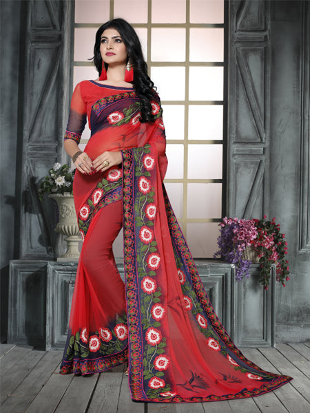 Buy Red and Blue Ciffon Embroidered Saree Online from YOYO Fashion