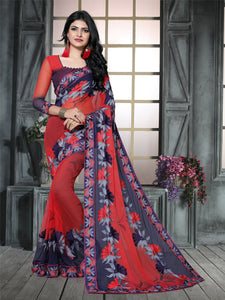 Buy Sky Blue Thread Embroidered Georgette Saree Online from YOYO Fashion