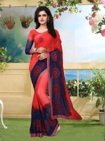 Buy Red and Blue Georgette Saree Online - YOYO Fashion