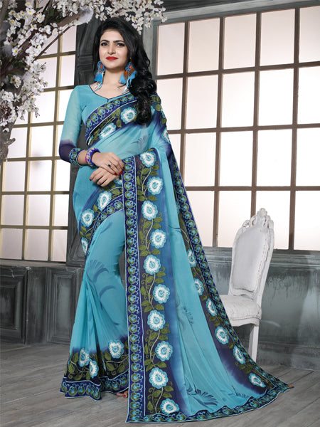 Buy Sky Blue Embroidered Chiffon Saree Online from YOYO Fashion