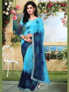 Buy Sky Blue Georgette Saree Online - YOYO Fashion